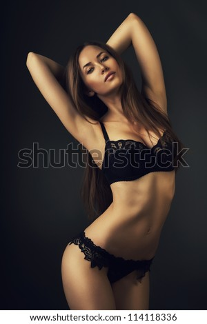 attractive sexy woman in lingerie - stock photo