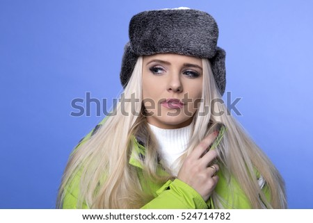 attractive sexy woman. winter concept