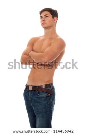 Attractive shirtless man. Studio shot over white. - stock photo