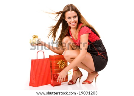 Attractive shopping girl. - stock photo