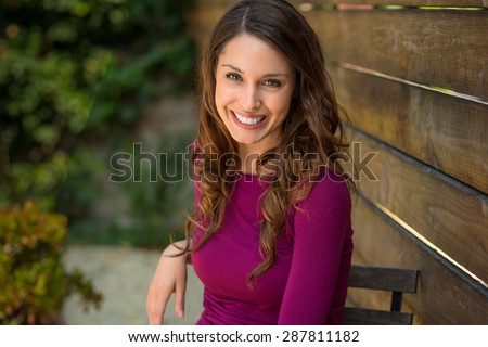 Attractive single woman with white teeth and perfect skin with a beautiful smile