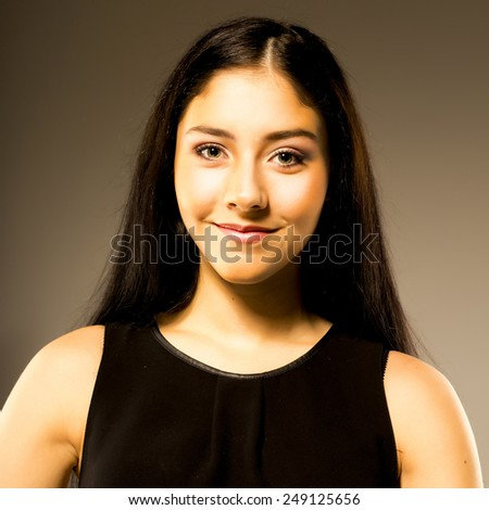 attractive smile teenage , dark long hair, isolated. happy student - stock photo