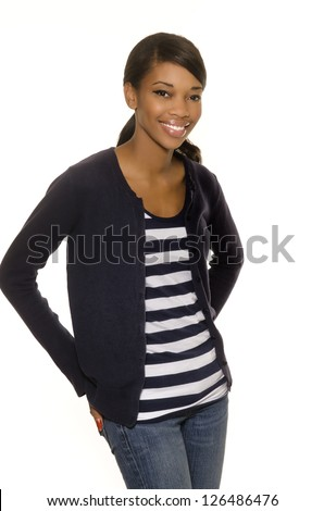 Attractive smiling beautiful casually dressed young woman isolated against white background. - stock photo