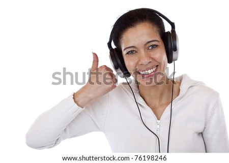 Attractive, smiling black woman with headset shows thumb up. Isolated on white background. - stock photo