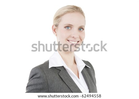 Attractive smiling business woman isolated on white - stock photo