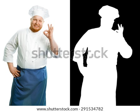 Attractive smiling chef on a white background. With clipping mask. - stock photo