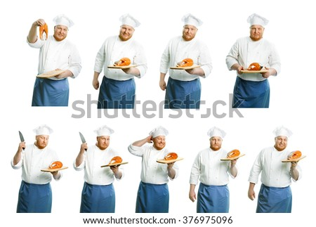 Attractive smiling chefs on a white background - stock photo