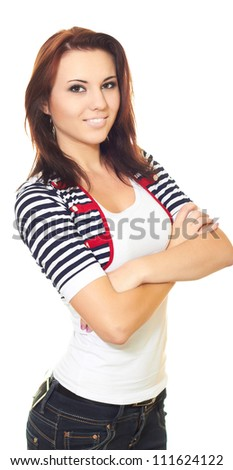 Attractive smiling girl in a white T-shirt and a striped jacket with dark hair folded her hands on her chest. Isolated on white background