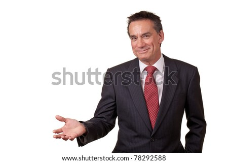 Attractive Smiling Middle Age Business Man Gesturing with Open Hand