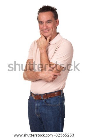 Attractive Smiling Middle Age Man with Hand to Chin in Thoughtful Pose