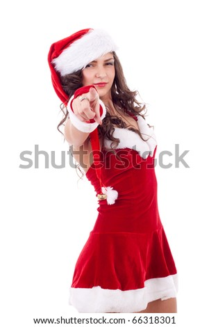 Attractive smiling woman in Santa Cap pointing to the camera