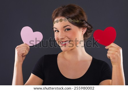 attractive smiling woman isolated - stock photo