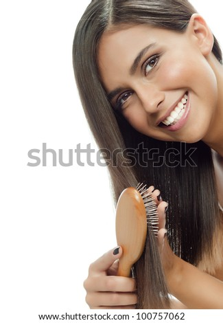 attractive smiling woman portrait on white background long hair brunette - stock photo