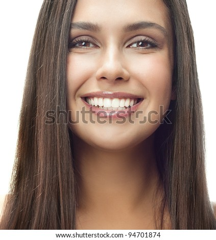attractive smiling woman portrait on white background long hair brunette toothy smile looking at camera - stock photo