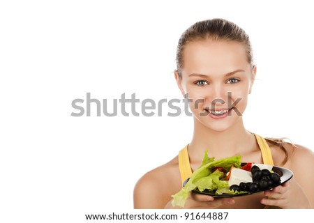 attractive smiling young woman with plate of salad, portrait of a smiled girl with salad, caucasian girl with plate of salad,isolated on white, girl with salad - stock photo
