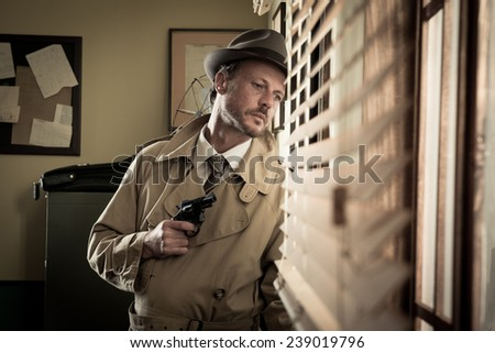 Attractive spy agent peeking from an office window, film noir. - stock photo