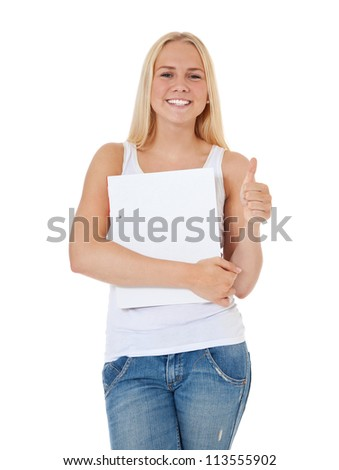 Attractive student showing thumbs up. All on white background.