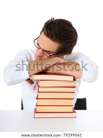 Attractive student taking a break. All on white background. - stock photo