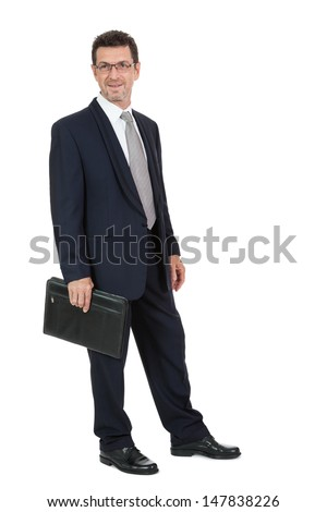 attractive successful adult business man in black suit isolated on white background