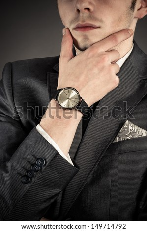 attractive successful business man in a strong thoughtfully - stock photo
