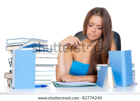 attractive teen girl reading book and learning - stock photo
