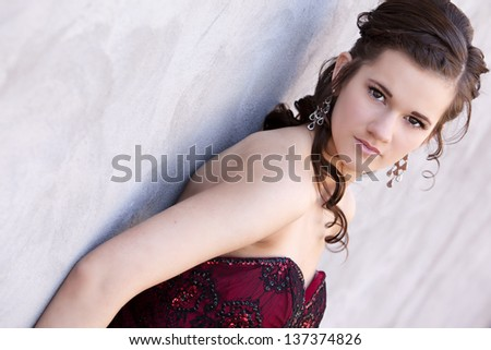 Attractive teen ready for prom.  Room for your text. - stock photo