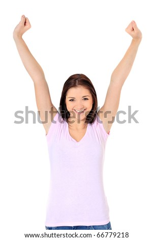 Attractive teenage girl cheering. All on white background. - stock photo