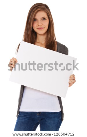 Attractive teenage girl holding blank sign. All on white background. - stock photo