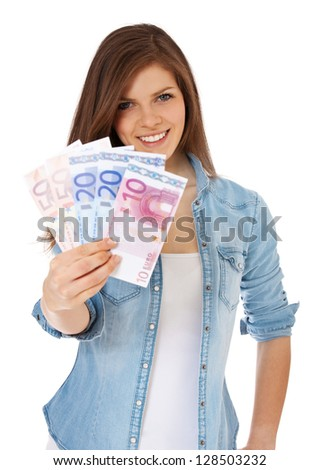 Attractive teenage girl holding 150 euro. All on white background. - stock photo