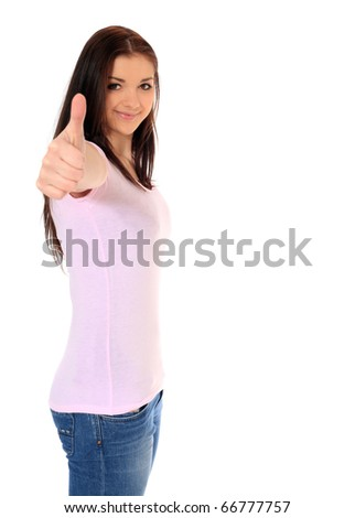 Attractive teenage girl making positive gesture. All on white background. - stock photo