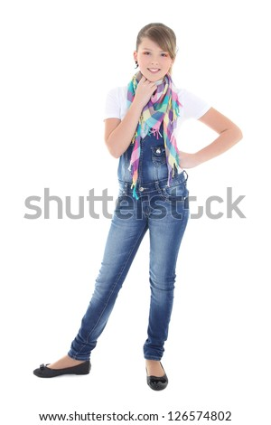 attractive teenage girl over white background
