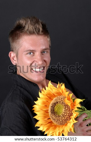 Attractive teenager over black background - stock photo