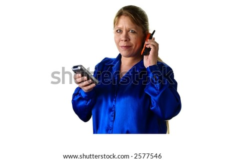 Attractive thirty or forty something woman with long blonde hair, orange cell phone and handheld computer on white background.