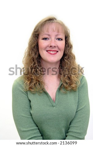 Attractive thirty-something caucasian woman smiling. Isolated on white. - stock photo