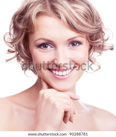 attractive thirty year old  woman with curly hair, isolated against white background