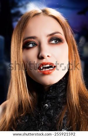 attractive vampire - stock photo