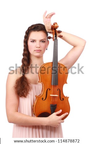 Attractive violinist posing with violin isolated on white background - stock photo