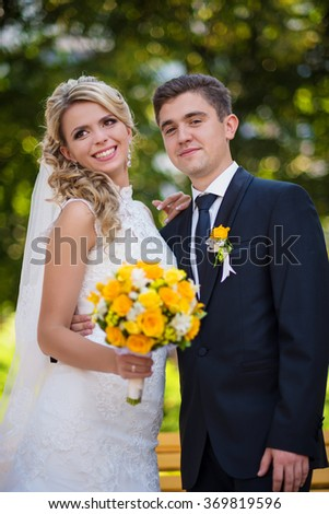 Attractive wedding couple