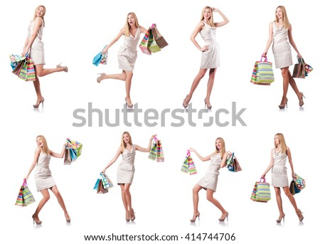 Attractive woman after good shopping - stock photo