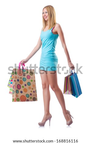 Attractive woman after happy shopping