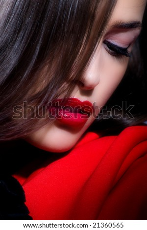 attractive woman close up portrait - stock photo