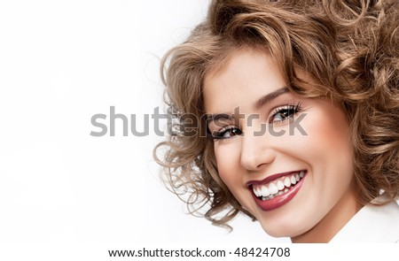 attractive woman closeup portrait - stock photo