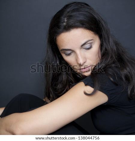 Attractive woman desperate - stock photo