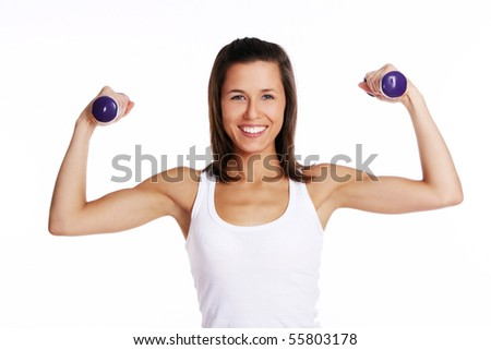 attractive woman doing fitness exercises
