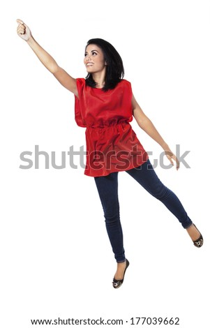 Attractive woman flying - isolated on white background - stock photo