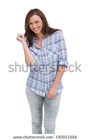 Attractive woman gesturing in front of the camera on white background - stock photo