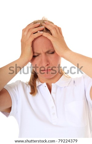 Attractive woman got a headache. All on white background.