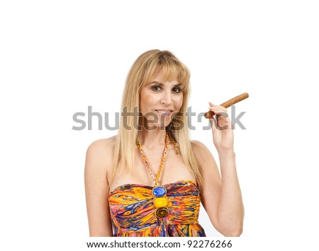 Attractive woman holding a cigar on a white background. - stock photo