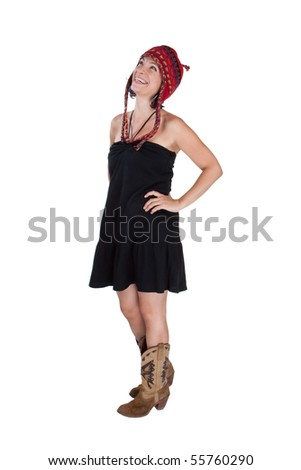 Attractive woman in a black dress and red hat