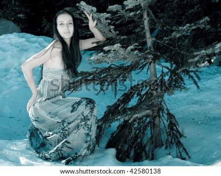 Attractive woman in a dress with a winter scene of snow and trees in the background